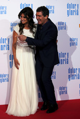"Actors Banderas and Penelope Cruz poses during the premiere of their latest film ""Pain and Glory"" in Madrid"