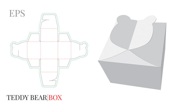Gift Box Template, Vector with die cut / laser cut lines. Candy Box Teddy Bear. White, blank, clear, isolated Candy Box mock up on white background with perspective view. Birthday Gift Box, Self lock