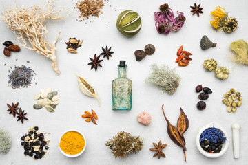 Background from dry medicinal herbs, plants, roots, ingredients for making herbal medicine remedies. Top view.