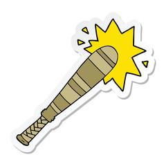 sticker of a cartoon baseball bat hitting