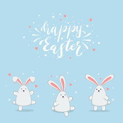 Rabbits on Blue Background and Lettering Happy Easter