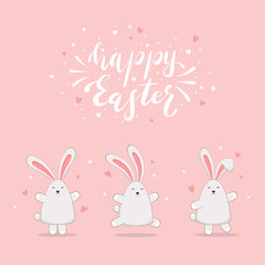 Rabbits with Hearts on Pink Background and Lettering Happy Easter