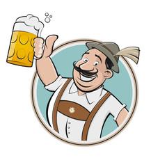 bayerischer cartoon mann trinkt bier symbol