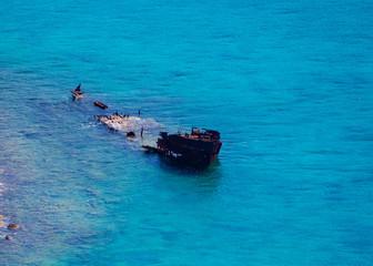 Old sunken ship near Balos beach on Crete, Greece
