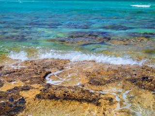 Yellow rock coast and beautiful turquoise water - Balos beach