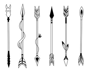 Hand drawn feather arrow, tribal feathers on pointer and decorative boho bow, feather indian arrowhead. Native aztec or hipster tattoo sketch isolated vector symbols set.