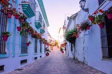 Street. The picturesque street of the city of Estepona. Costa del Sol, Andalusia, Spain. Picture...