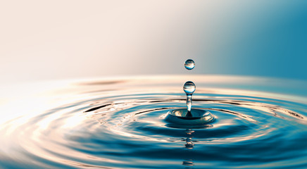 Clear Water drop with circular waves
