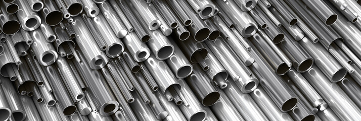 Close-up set of different diameters metal round tubes, pipes, gun barrels and kernels. Industrial 3d illustration