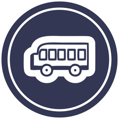 school bus circular icon