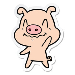 sticker of a nervous cartoon pig waving
