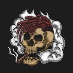 Skull Smoke Vector illustration