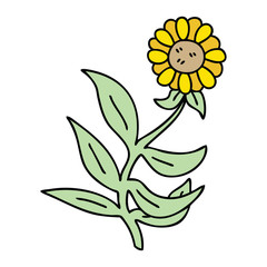 quirky hand drawn cartoon flower