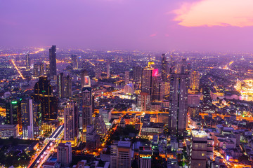 high view of the city in sunset time / High view of Bangkok city in sunset