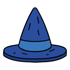 cartoon doodle of a witches hat