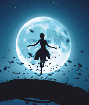 3d rendering of a fairy flying in a magical night surrounded by flock butterflies in moonlight