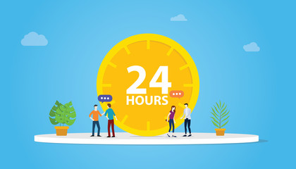 24 hours support service concept with clock and people team - vector illustration