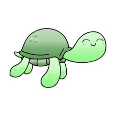 quirky gradient shaded cartoon turtle