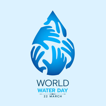 World water day banner with blue hands drop water sign vector design
