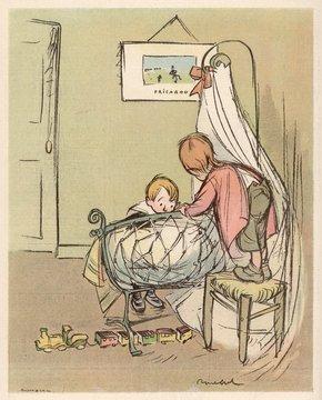 Two Children Admire New Baby