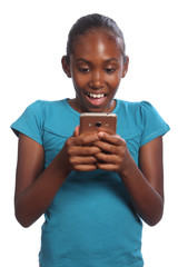 Happy black school girl receiving text message