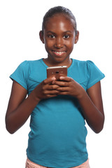 Smiling black school girl holding her mobile phone