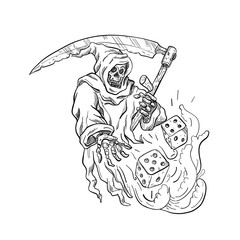 Drawing sketch style illustration of the Grim Reaper with a scythe throwing rolling the dice on isolated white background done in black and white.