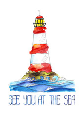 The hight Lighthouse with white and red stripes stands on top of a cliff above the waves. Handwriting text see you at sea