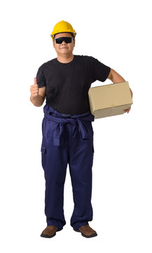 worker in Mechanic Jumpsuit Was carrying a box isolated on white background