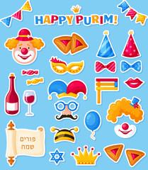 Purim stickers set. Jewish holiday. Vector.
