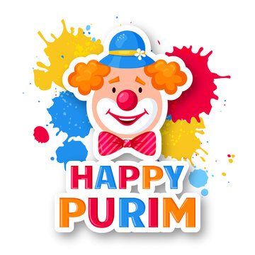 Happy Purim - greeting card for Jewish holiday. Vector.