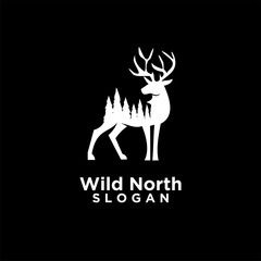 deer animal wild north life. animal with north wild pine tree silhouette logo icon designs vector illustration template. for hunting and wild adventure logo product and trip.