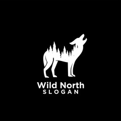 wolf animal wild north life. animal with north wild pine tree silhouette logo icon designs vector illustration template. for hunting and wild adventure logo product and trip.
