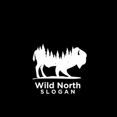 bison animal wild north life. animal with north wild pine tree silhouette logo icon designs vector illustration template. for hunting and wild adventure logo product and trip.