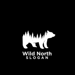 bear animal wild north life. animal with north wild pine tree silhouette logo icon designs vector illustration template. for hunting and wild adventure logo product and trip.