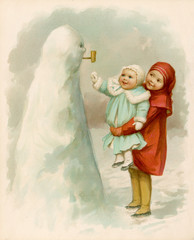 Sister Holding Up Baby to See Their Snowman