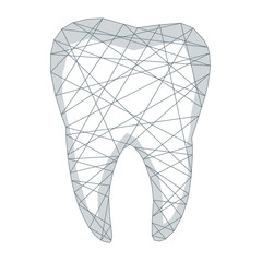Tooth polygonal genetic engineering abstract background. The isolated concept of  dental and orthodontics consists of low poly wireframe, geometry triangle, lines, dots, polygons, shapes.