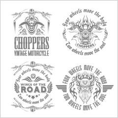 Vintage motorcycle labels, badges and design elements on light background