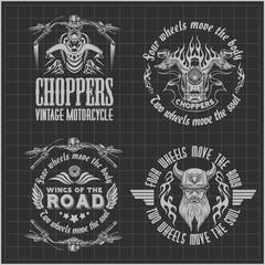 Vintage motorcycle labels, badges and design elements on dark background