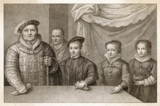 King Henry Viii with Three Children and Jester