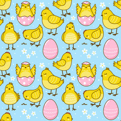 Seamless Easter pattern with cute chickens