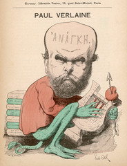 Caricature of Paul Verlaine, French Poet