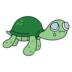 quirky hand drawn cartoon turtle