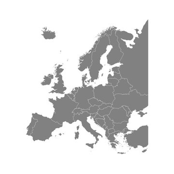 Vector illustration with simplified map of all European states (countries). Grey silhouettes, white outline and background.