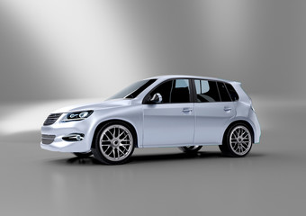 Mock up of a car on a studio background - 3d rendering