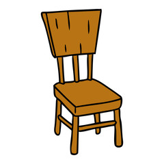 cartoon doodle of a  wooden chair