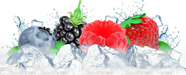 forest fruit berries splash water and ice cubes isolated on the white