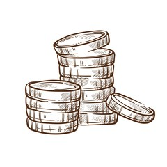Coin stacks isolated sketch money and finance banking business