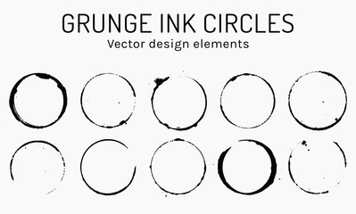 Grunge ink circles. Vector coffee rings.