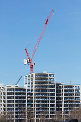 London, United Kingdom - Februari 22, 2019 : A new building under construction in London on Februari 22, 2019